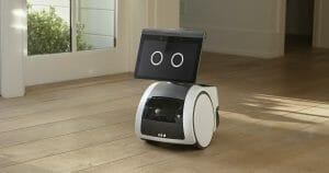 Wheeled robot on floor.